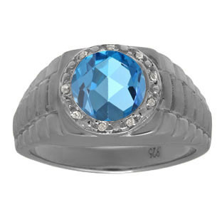 Men's Diamond and Blue Topaz Ring in Black Rhodium Plated White Gold