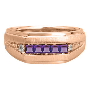 Men's Purple Amethyst and Diamond Rose Gold Ring
