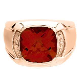 Big Mens Diamond Cushion Cut Ruby Rose Gold Ring Gemologica A