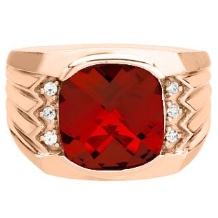 Large Men's Cushion Cut Ruby Diamond Rose Gold Ring