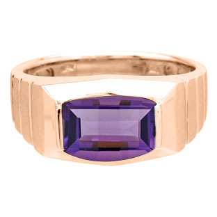 Barrel-Cut Amethyst Stone Ring For Men In Rose Gold