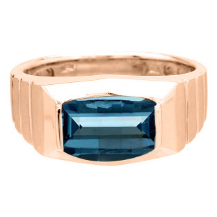 Barrel-Cut Blue Topaz Stone Ring For Men In Rose Gold