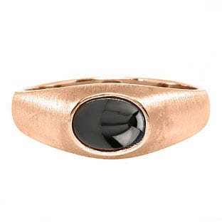 East-West Oval Cut Black Star Sapphire Rose Gold Pinky Ring For Men