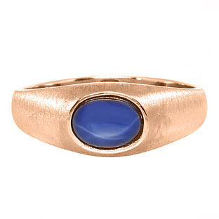 East-West Oval Cut Blue Star Sapphire Rose Gold Pinky Ring For Men