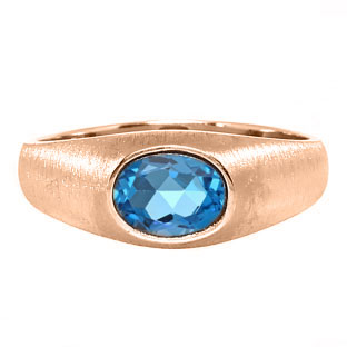 East-West Oval Cut Blue Topaz Rose Gold Pinky Ring For Men