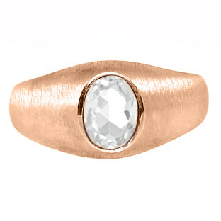 Rose Gold Pinky Ring For Men Oval-Cut White Topaz Gemstone