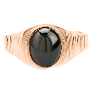Men's Oval-Cut Black Star Sapphire Gemstone Simple Rose Gold Ring