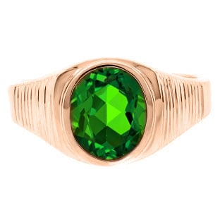 Men's Oval-Cut Emerald Gemstone Simple Rose Gold Ring