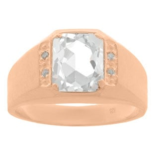 Diamond and Rose Gold Mens Octagon Cut White Topaz Ring
