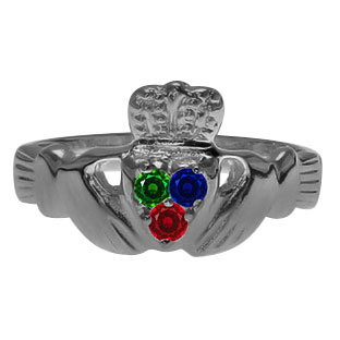Black Rhodium Plated White Gold Irish Claddagh Personalized Birthstone Ring