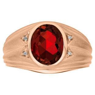 Oval Cut Garnet Birthstone Diamond Men's Ring In Rose Gold