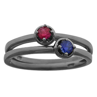 Black Rhodium Plated White Gold Personalized Birthstone Stackable Ring
