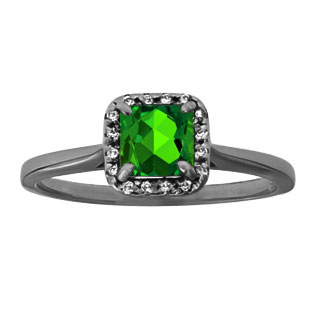 Emerald Gemstone Diamond Halo Ring In Black Rhodium Plated White Gold