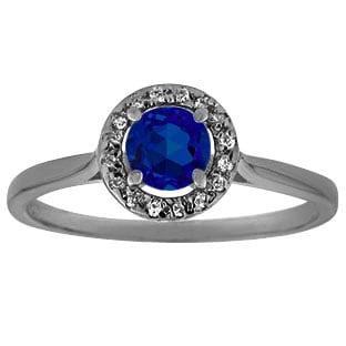 Halo Jewelry - Blue Sapphire Diamond Halo Ring In Black Rhodium Plated White Gol