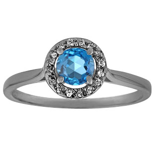 Halo Jewelry - Blue Topaz Diamond Halo Ring In Black Rhodium Plated White Gold