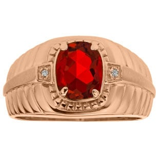 Cushion Cut Ruby Birthstone Diamond Men's Ring In Rose Gold