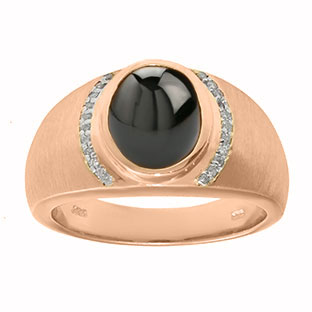 Men's Oval-Cut Black Onyx and Diamond Ring In Rose Gold