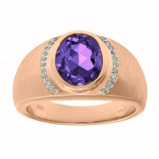 Men's Oval-Cut Amethyst and Diamond Ring In Rose Gold