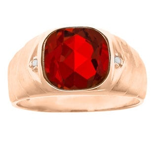 Men's Diamond Antique Cut Ruby Ring In Rose Gold