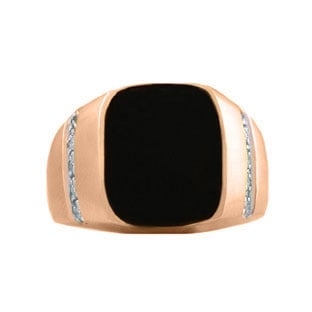 Rectangular Black Onyx and Diamond Men's Rose Gold Ring