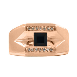Rose Gold and Diamond Men's Black Onyx Ring