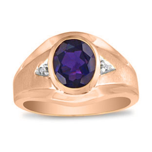 Men's Oval Amethyst Diamond Dual Finish Rose Gold Ring