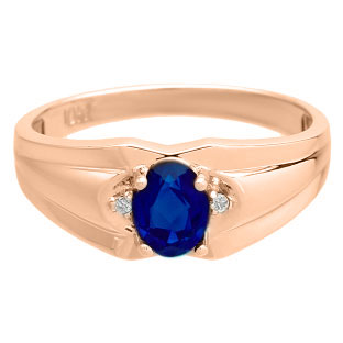 Men's Rose Gold Diamond Oval Cut Sapphire Stone Ring