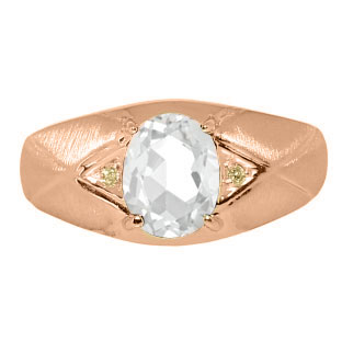 Mens Jewelry - Men's Rose Gold Ring With White Topaz Stone and Diamonds
