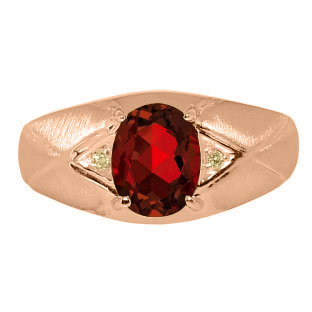 Mens Jewelry Mens Rose Gold Ring With Garnet Stone and Diamonds
