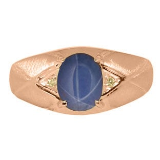 Mens Jewelry - Men's Rose Gold Ring With Blue Star Sapphire Stone and Diamonds