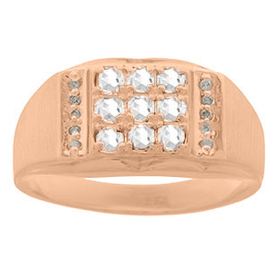 Men's Diamond and Rose Gold White Topaz Ring