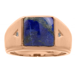 Square Lapis and Diamond Ring In Rose Gold For Men