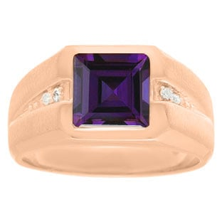 Diamond and Rose Gold Men's Square Cut Amethyst Ring