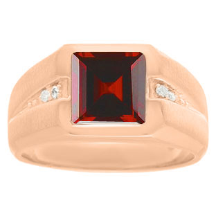 Diamond and Rose Gold Men's Square Cut Garnet Ring