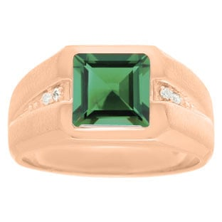 Diamond and Rose Gold Men's Square Cut Emerald Ring