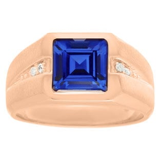Diamond and Rose Gold Men's Square Cut Sapphire Ring
