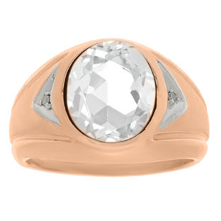 White Topaz Ring - Men's Diamond and White Topaz Rose Gold Ring