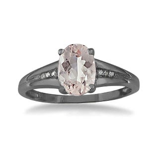 Black Rhodium Plated White Gold Oval Cut Natural Morganite Diamond Ring