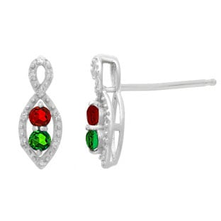 Personalized 2-Stone Birthstone Infinity Diamond Earrings In White Gold