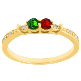 Personalized 2-Stone Birthstone Diamond Ring In Yellow Gold