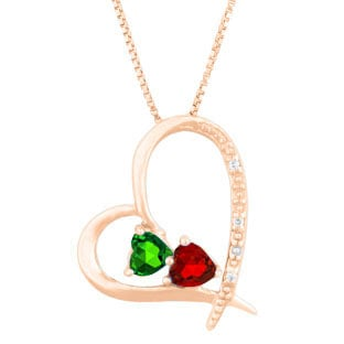 Personalized Diamond 2-Stone Birthstone Heart Pendant In Rose Gold