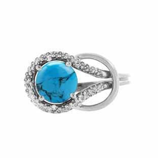 Diamond Sterling Silver Turquoise Birthstone Love Knot Ring