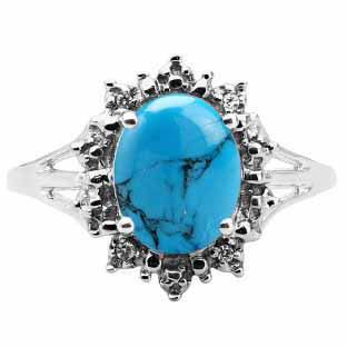 Diamond Oval Turquoise Gemstone White Gold Starburst Ring