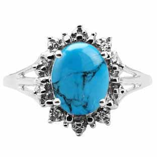 Diamond Oval Turquoise Gemstone Sterling Silver Starburst Ring