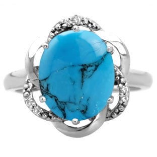 Bold Oval Cut Turquoise Gemstone Diamond Sterling Silver Ring