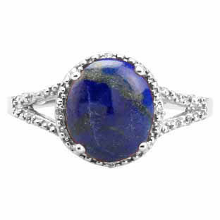 Simple Oval Cut Blue Lapis Diamond Sterling Silver Ring For Women