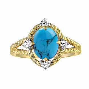 Oval Cut Turquoise Diamond Yellow Gold Braided Ring