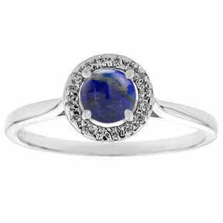 Halo Jewelry - Blue Lapis Birthstone Diamond Halo Ring In Sterling Silver