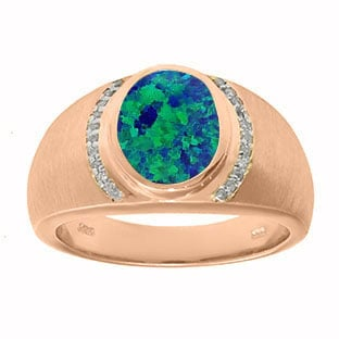 Men's Oval-Cut Australian Opal and Diamond Ring In Rose Gold