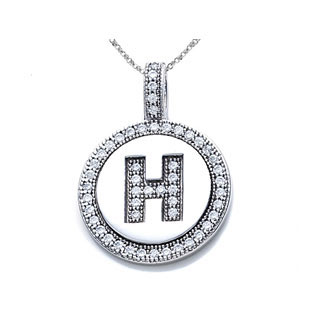 .925 Sterling Silver H CZ Initial Disc Pendant Necklace